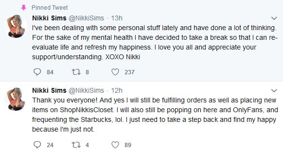 Nikki Sims takes a break